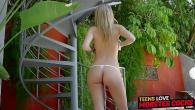 Permalink to Bokep Pretty teen with great natural tits spreads her legs for big coc